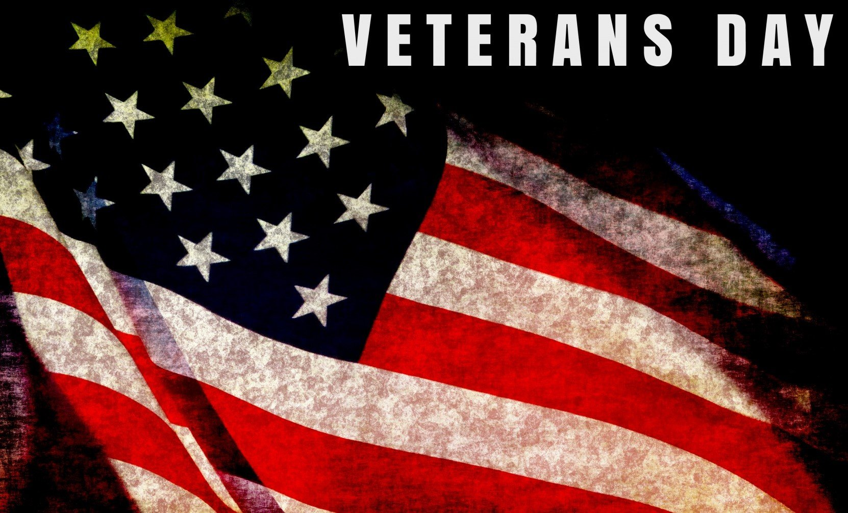 close-up of US flag with words Veterans Day